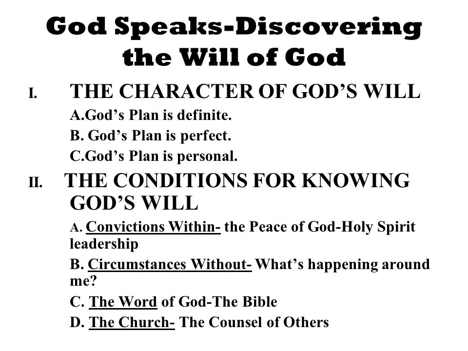 God Speaks-Discovering the Will of God