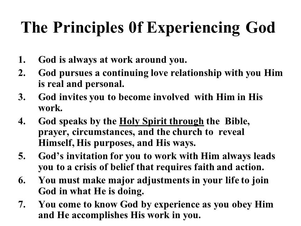 The Principles 0f Experiencing God
