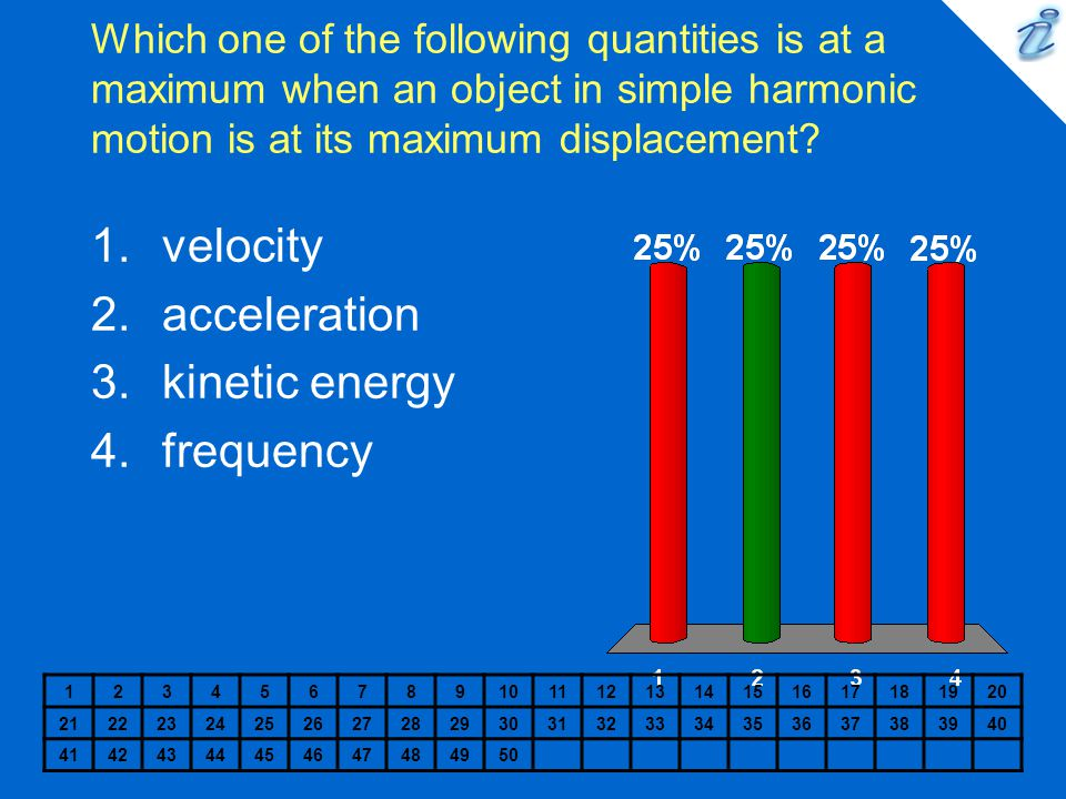 velocity acceleration kinetic energy frequency