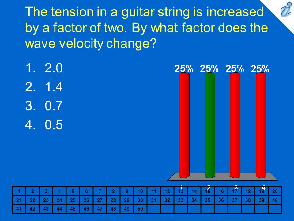 The tension in a guitar string is increased by a factor of two