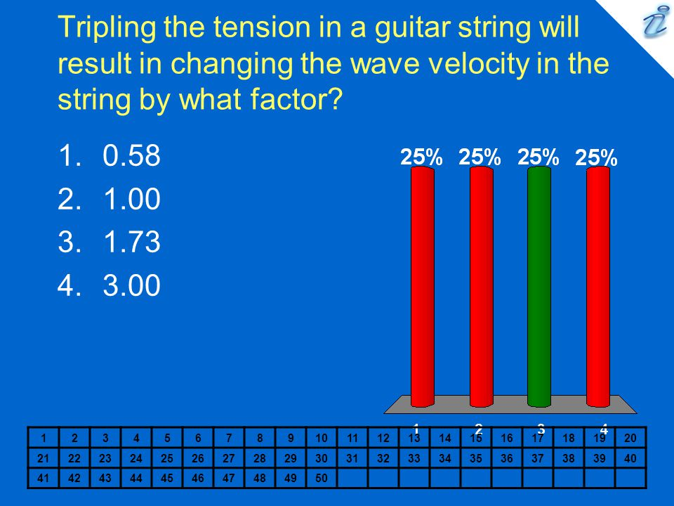 Tripling the tension in a guitar string will result in changing the wave velocity in the string by what factor