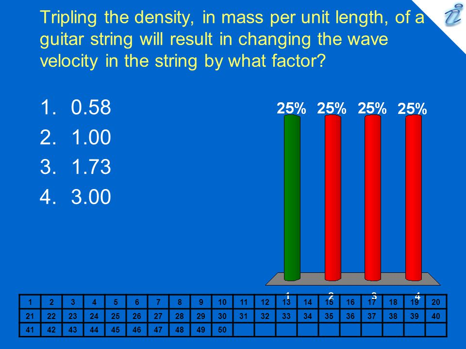 Tripling the density, in mass per unit length, of a guitar string will result in changing the wave velocity in the string by what factor