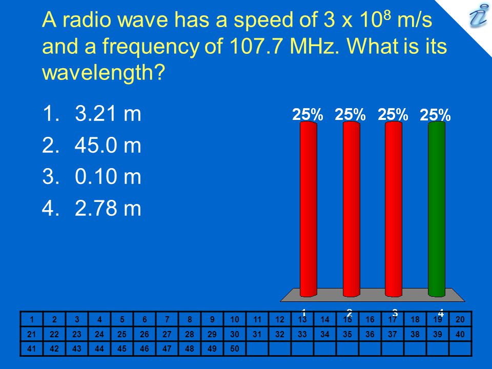 A radio wave has a speed of 3 x 108 m/s and a frequency of 107. 7 MHz