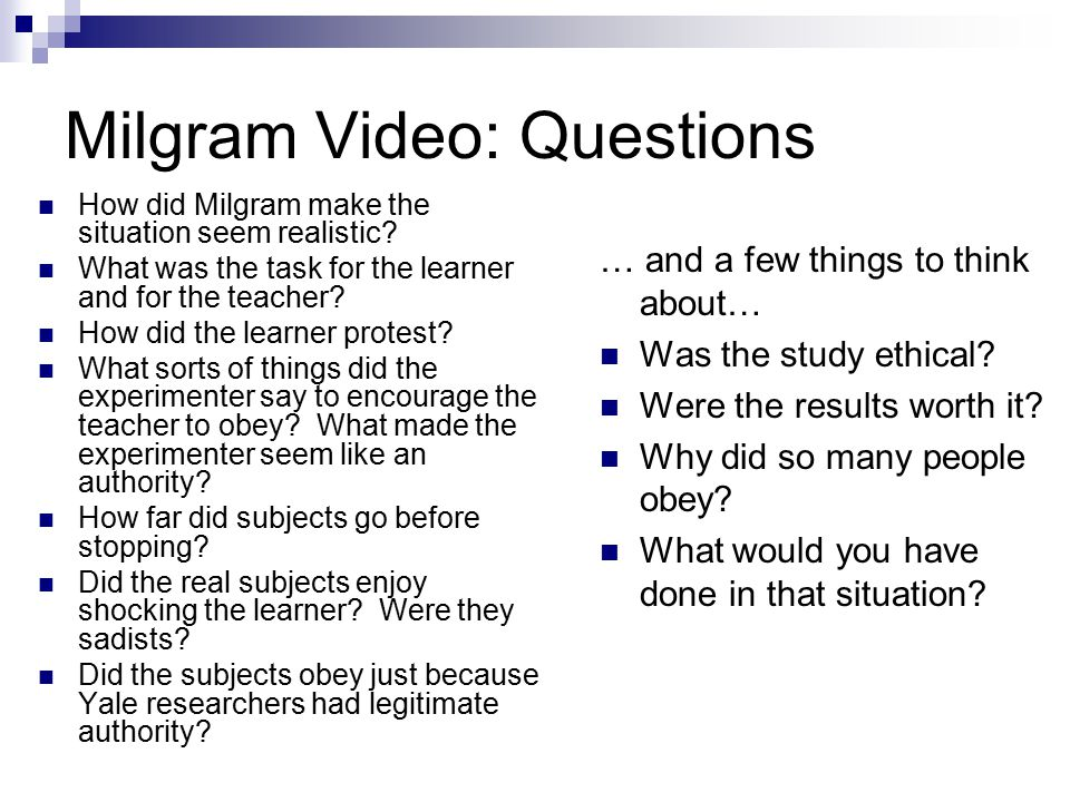 Milgram Video: Questions