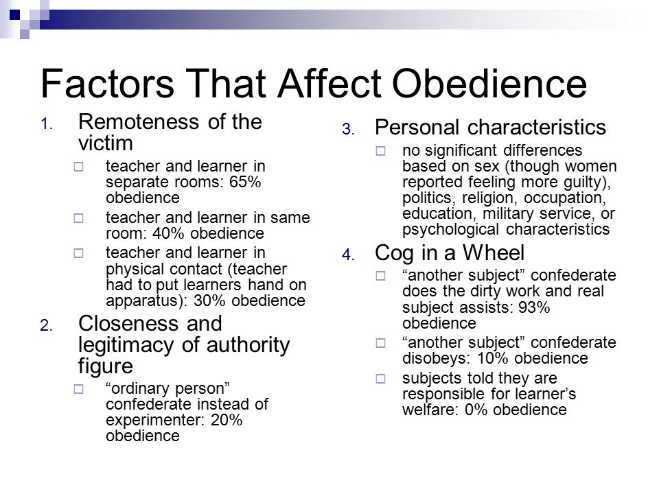 Factors That Affect Obedience