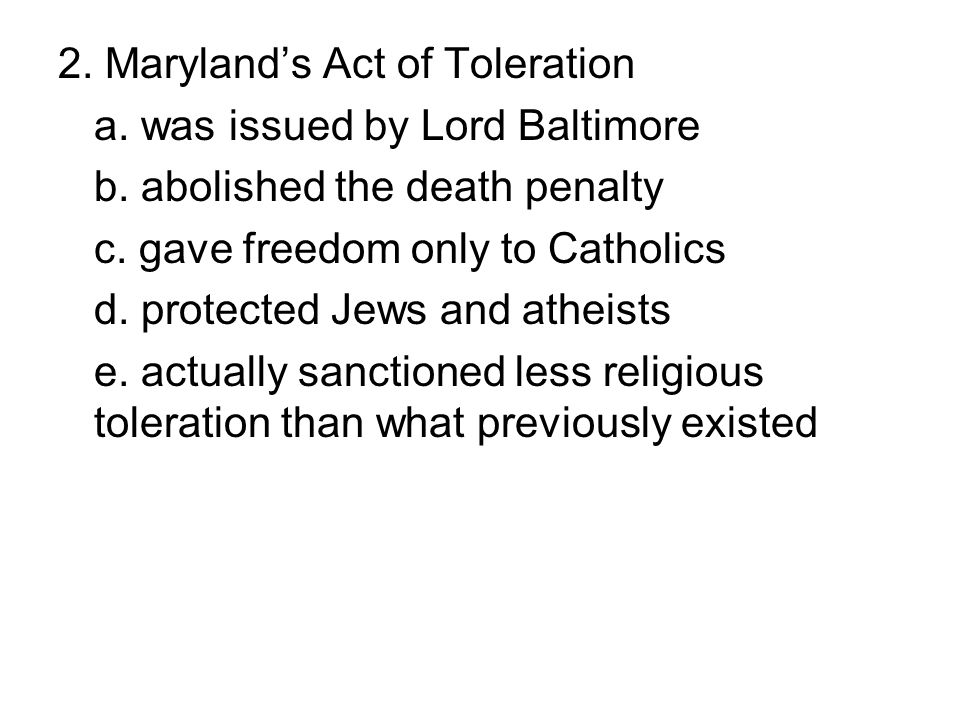 2. Maryland's Act of Toleration