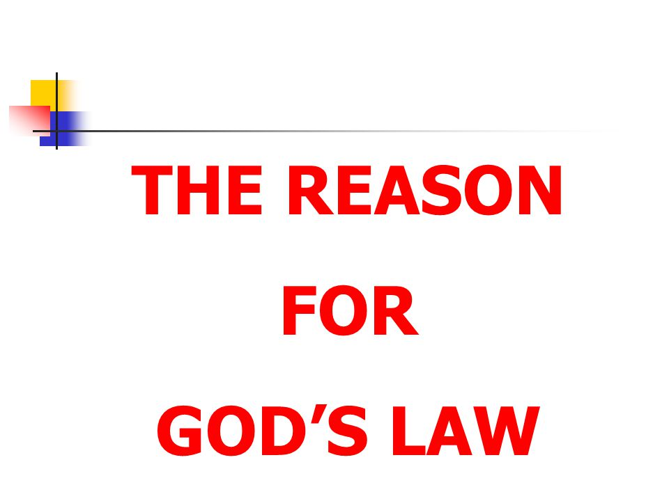 THE REASON FOR GOD'S LAW