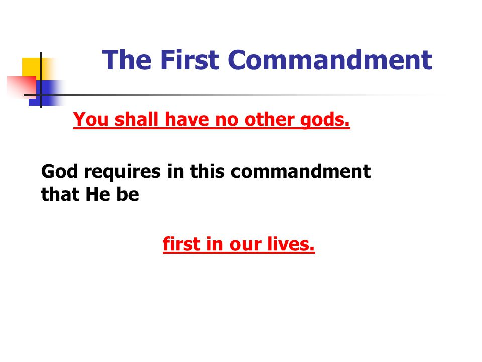 The First Commandment You shall have no other gods.