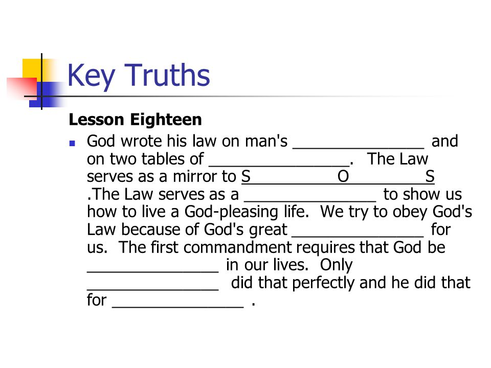 Key Truths Lesson Eighteen