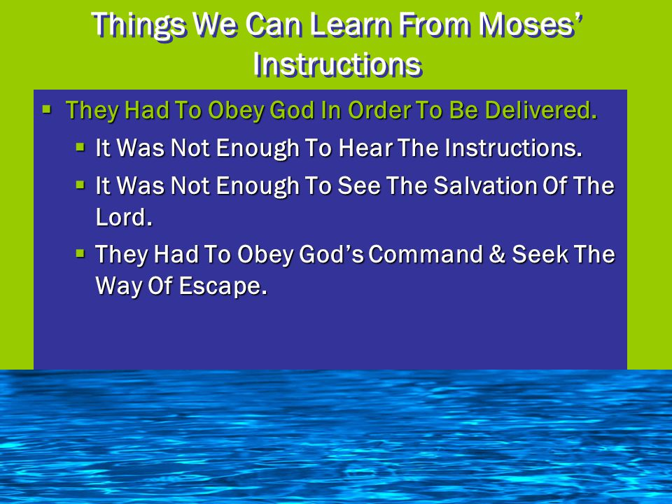 Things We Can Learn From Moses' Instructions