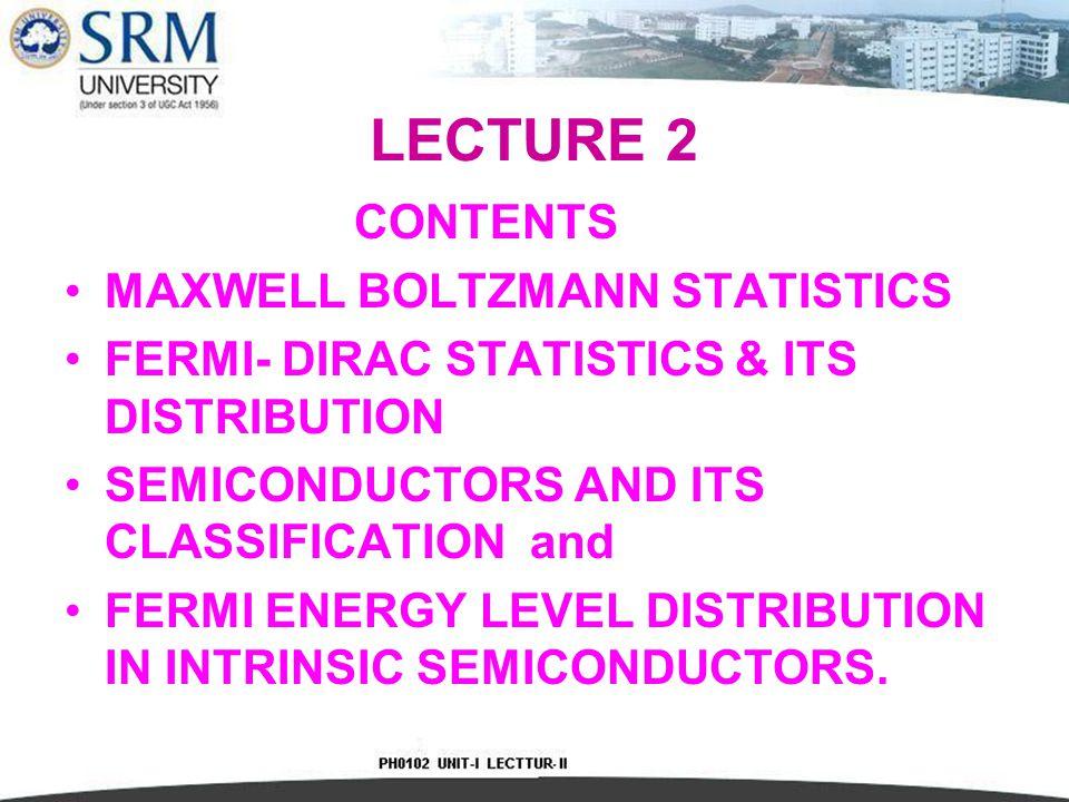 LECTURE 2 CONTENTS MAXWELL BOLTZMANN STATISTICS