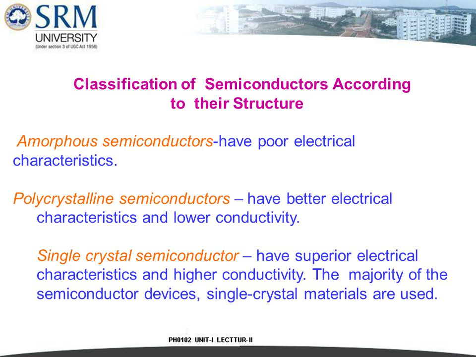 Classification of Semiconductors According