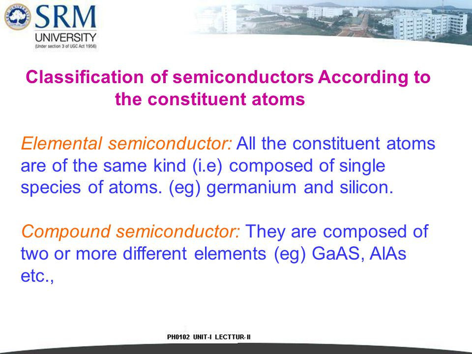 Classification of semiconductors According to