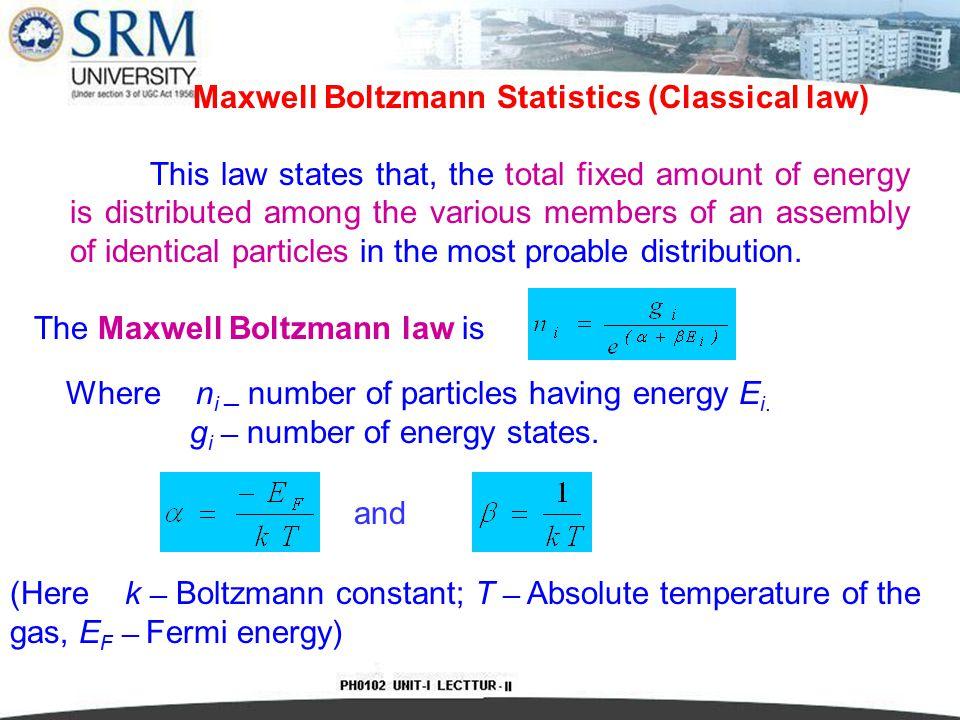 Maxwell Boltzmann Statistics (Classical law)
