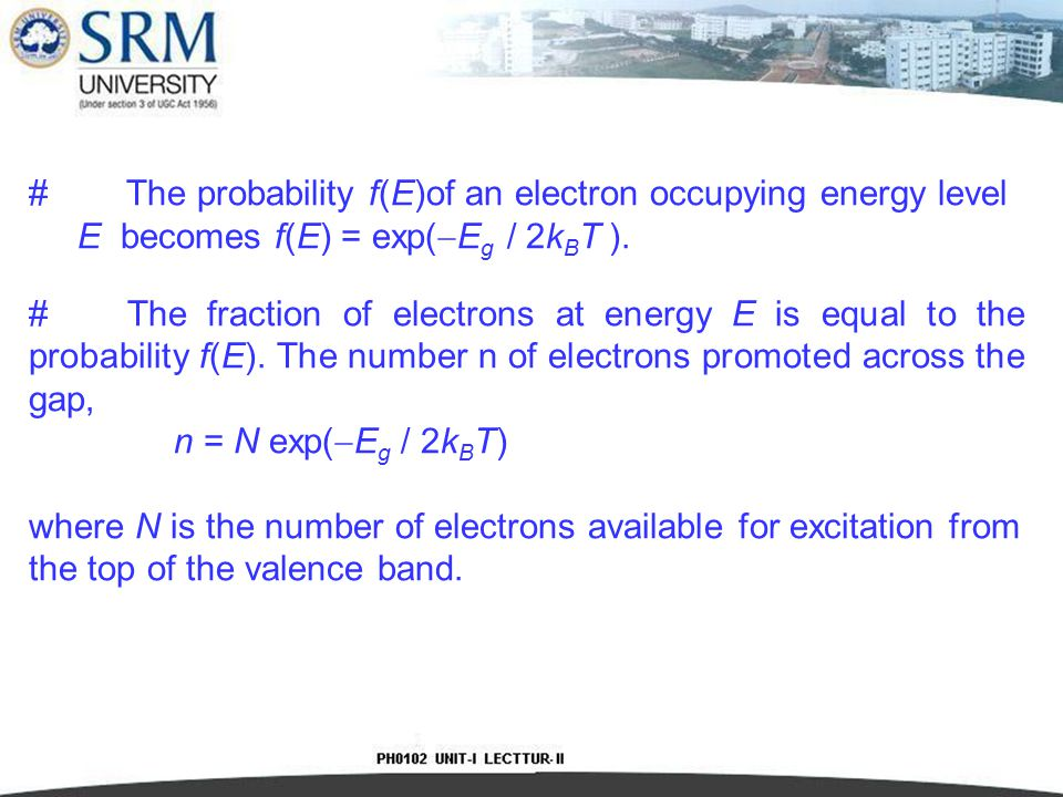 The probability f(E)of an electron occupying energy level