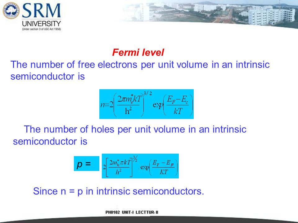 Fermi level The number of free electrons per unit volume in an intrinsic semiconductor is.