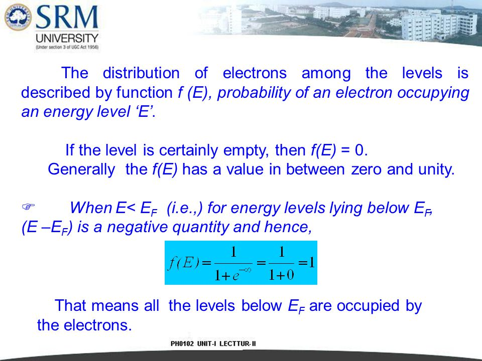 The distribution of electrons among the levels is described by function f (E), probability of an electron occupying an energy level 'E'.