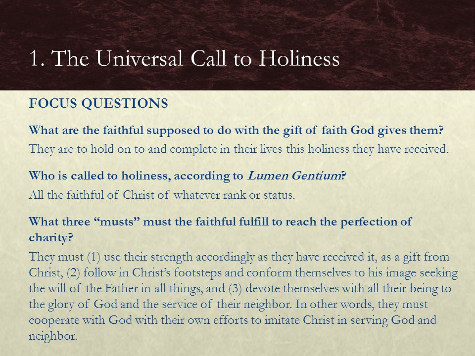 1. The Universal Call to Holiness