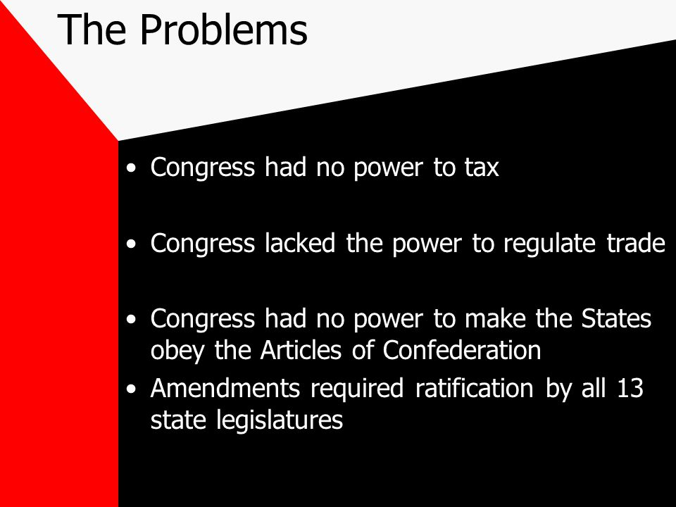 The Problems Congress had no power to tax