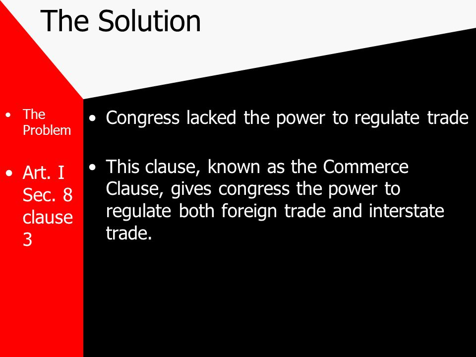 The Solution Congress lacked the power to regulate trade