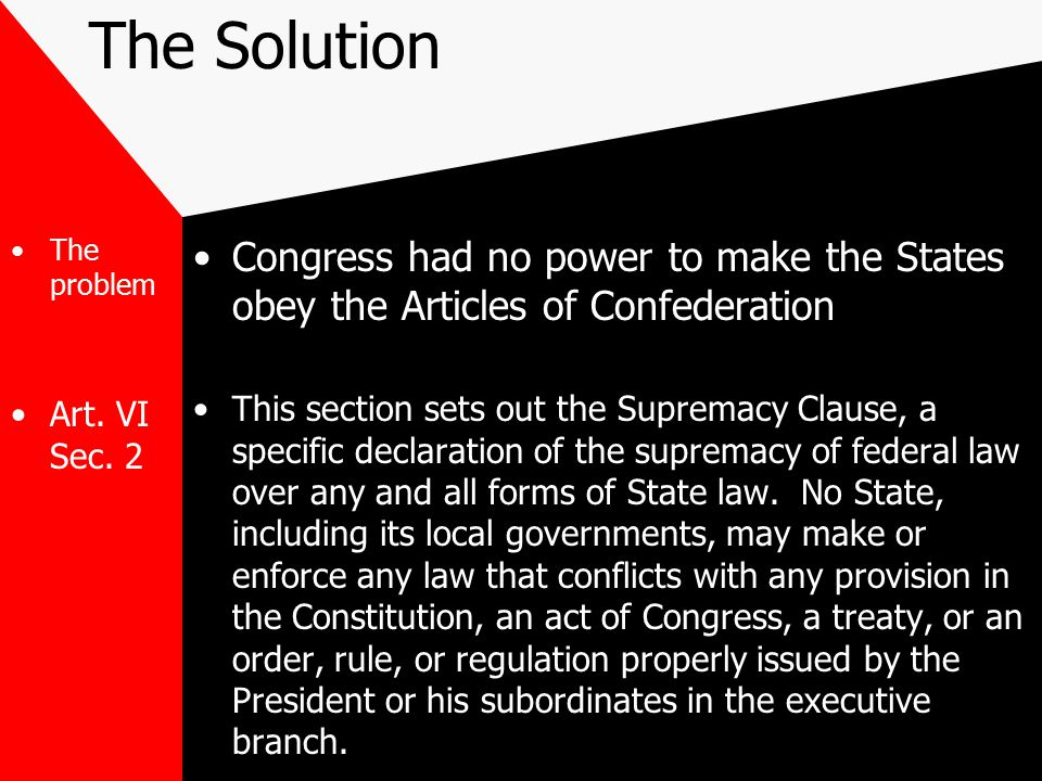 The Solution The problem. Art. VI Sec. 2. Congress had no power to make the States obey the Articles of Confederation.