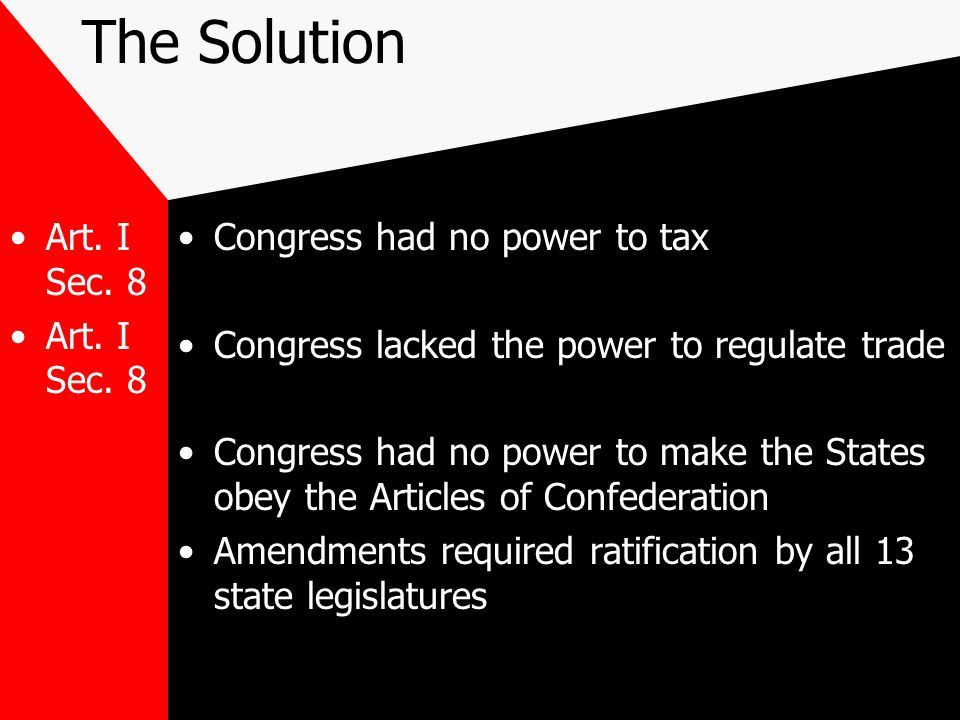 The Solution Art. I Sec. 8 Congress had no power to tax