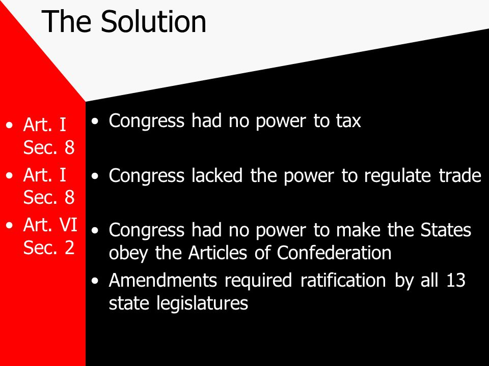 The Solution Congress had no power to tax Art. I Sec. 8