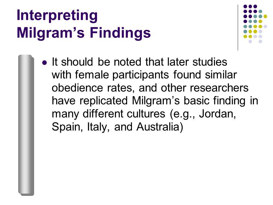 Interpreting Milgram's Findings