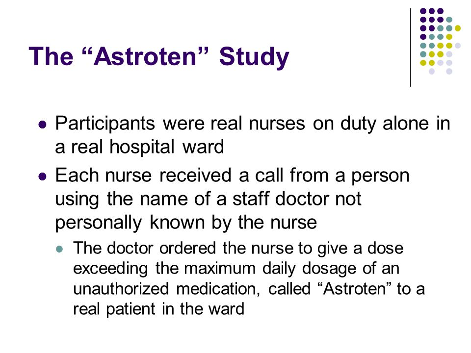 The Astroten Study Participants were real nurses on duty alone in a real hospital ward.