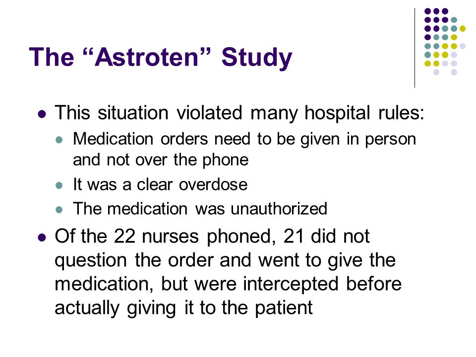The Astroten Study This situation violated many hospital rules: