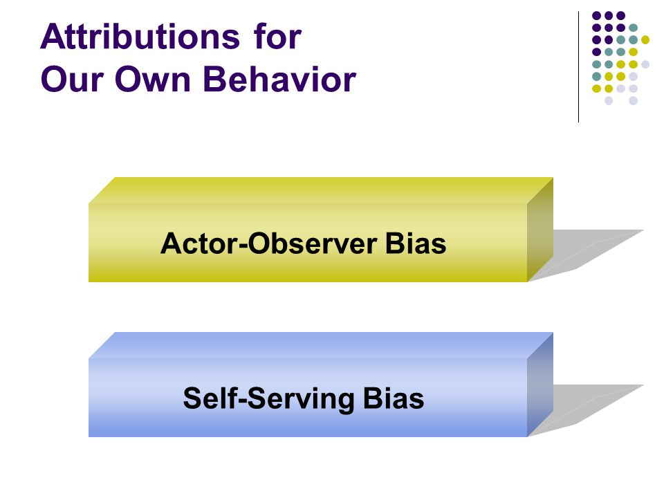 Attributions for Our Own Behavior