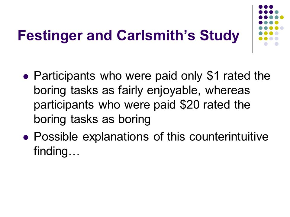 Festinger and Carlsmith's Study