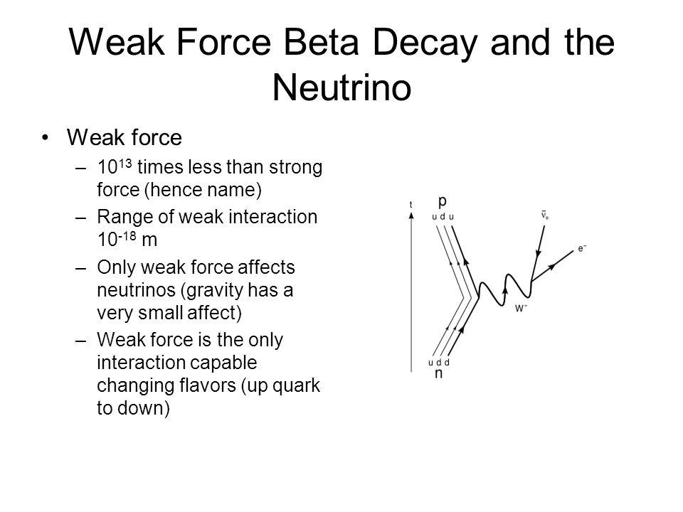 Weak Force Beta Decay and the Neutrino
