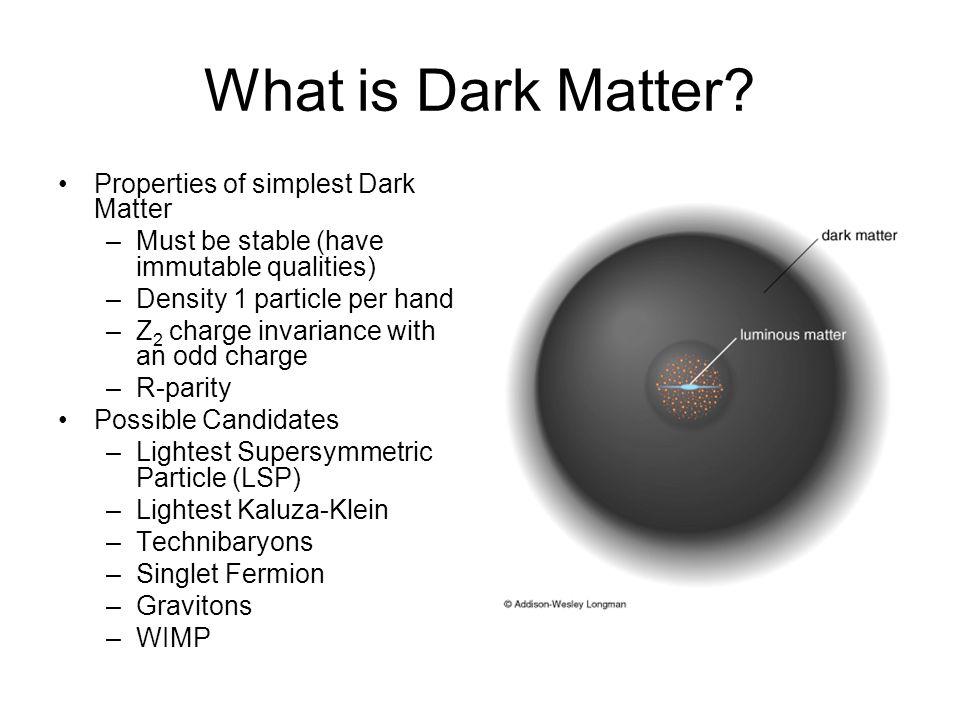 What is Dark Matter Properties of simplest Dark Matter