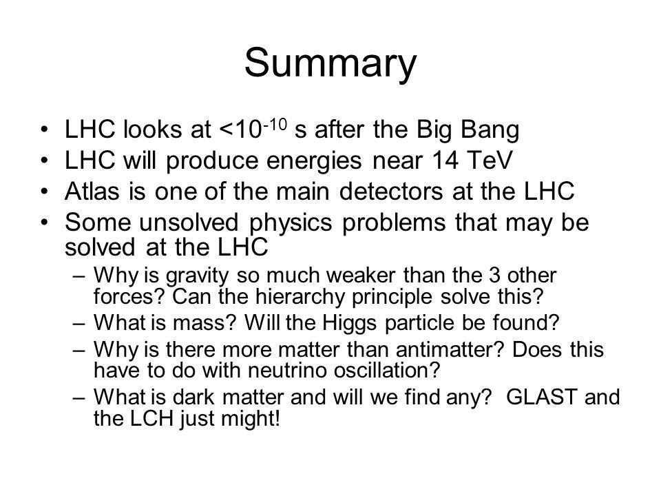Summary LHC looks at <10-10 s after the Big Bang