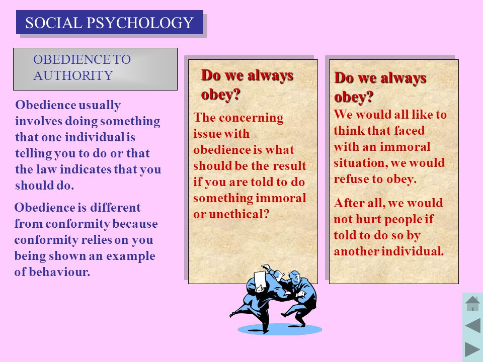 SOCIAL PSYCHOLOGY Do we always obey Do we always obey