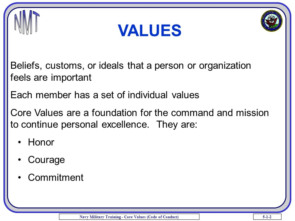 VALUES Beliefs, customs, or ideals that a person or organization feels are important.