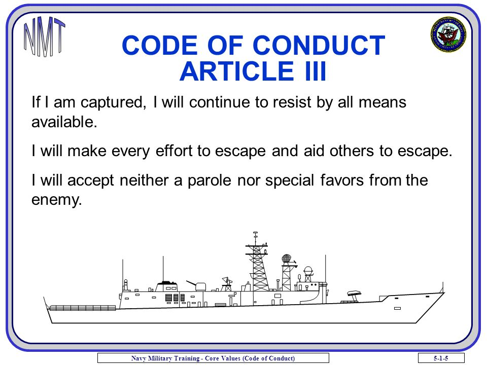 CODE OF CONDUCT ARTICLE III