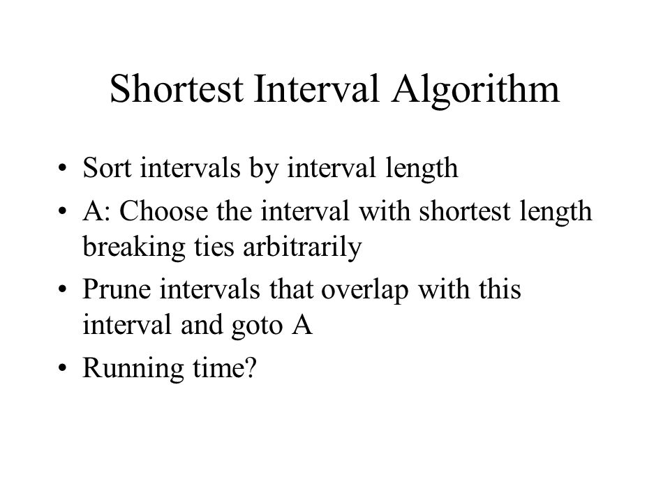 Shortest Interval Algorithm