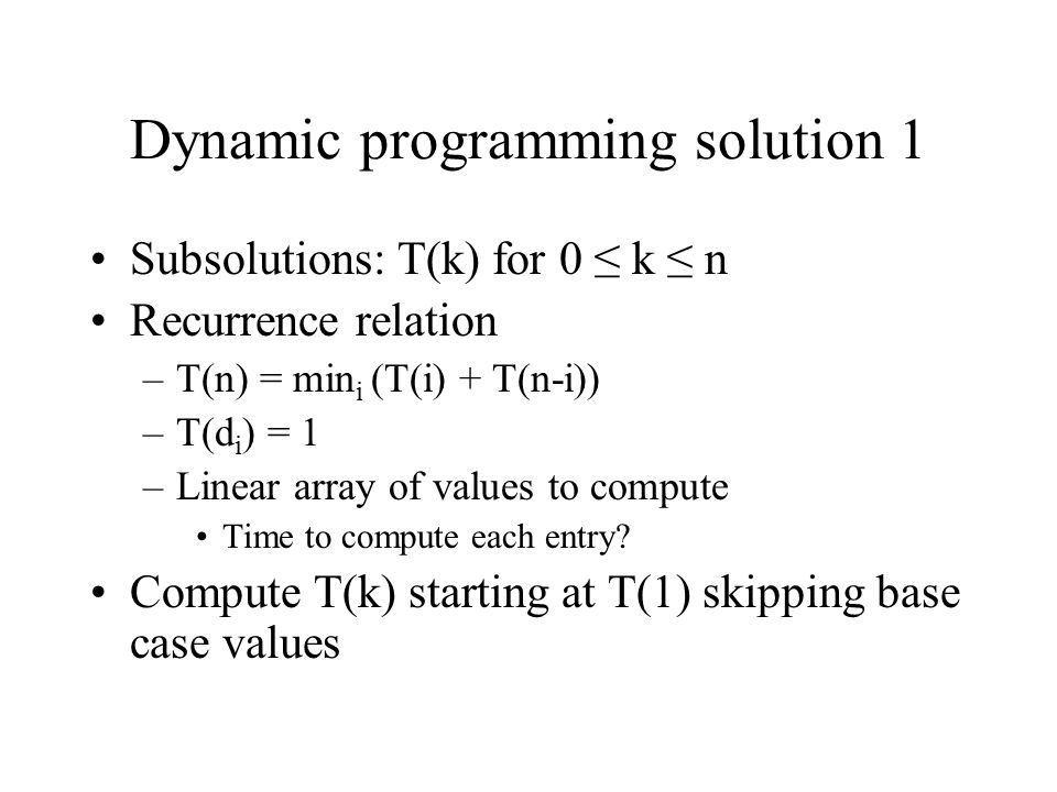 Dynamic programming solution 1