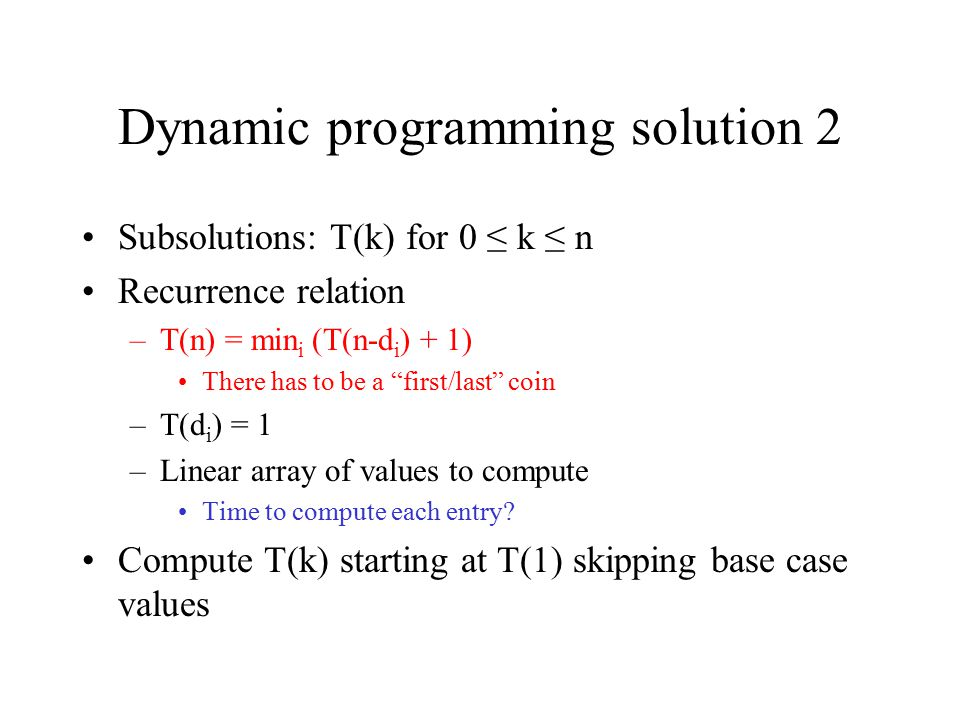 Dynamic programming solution 2