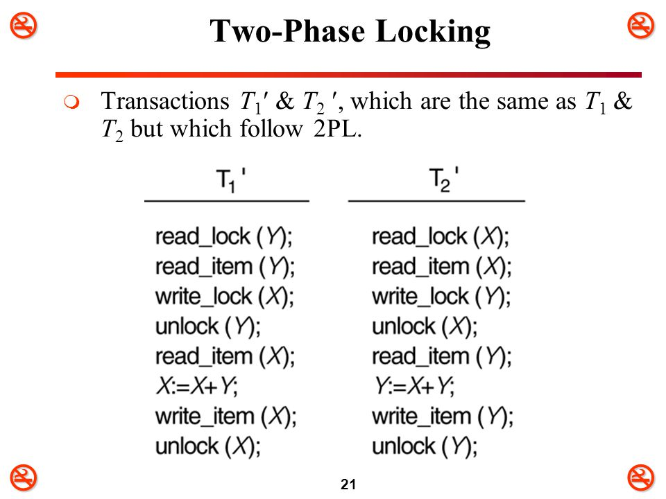 Two-Phase Locking Transactions T1 & T2 , which are the same as T1 & T2 but which follow 2PL.