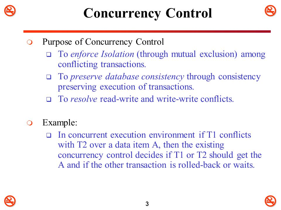 Concurrency Control Purpose of Concurrency Control