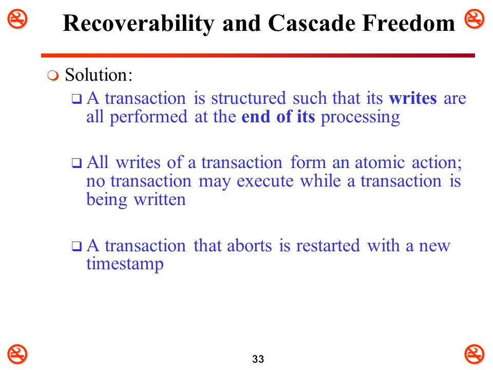 Recoverability and Cascade Freedom