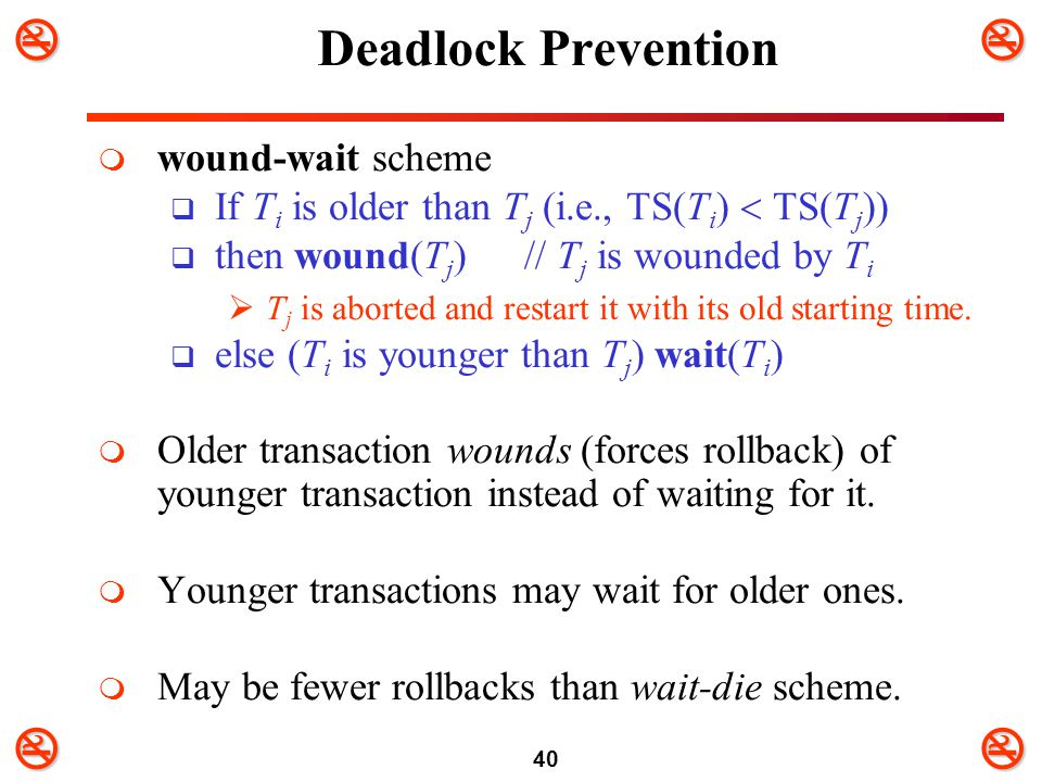 Deadlock Prevention wound-wait scheme