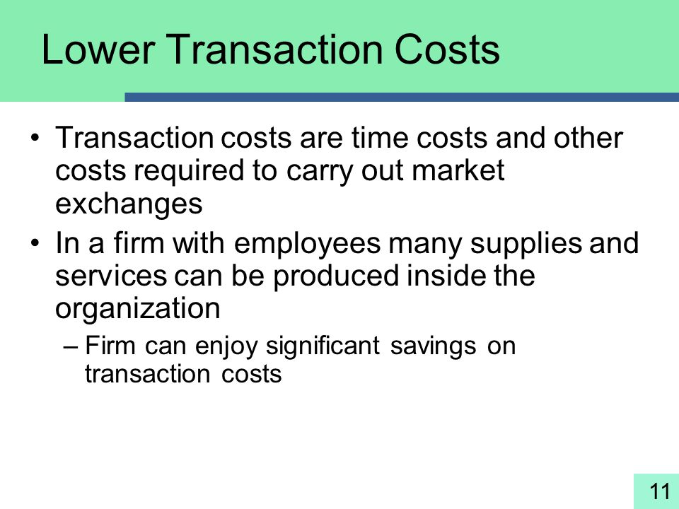 Lower Transaction Costs
