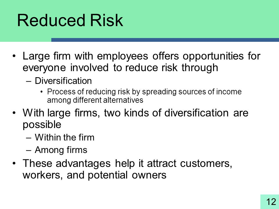 Reduced Risk Large firm with employees offers opportunities for everyone involved to reduce risk through.