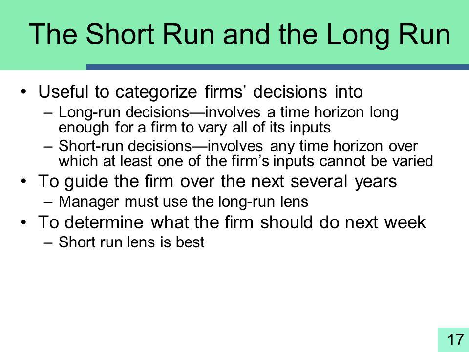 The Short Run and the Long Run