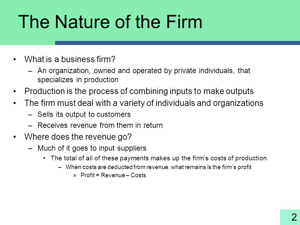 The Nature of the Firm What is a business firm