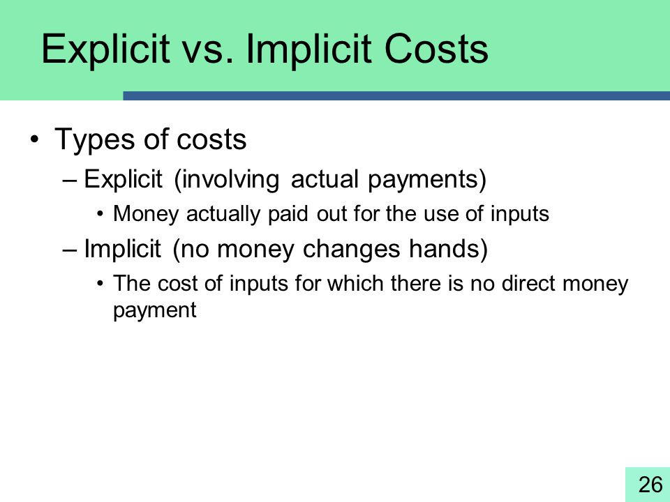 Explicit vs. Implicit Costs